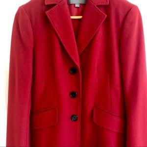 Ann Taylor Crimson Wool & Cashmere Coat